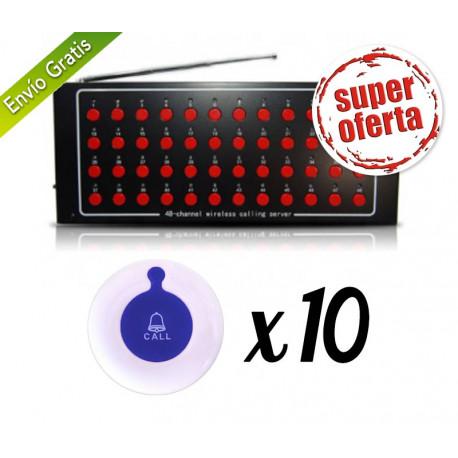 Receptor inalámbrico para avisadores + 10 pulsadores
