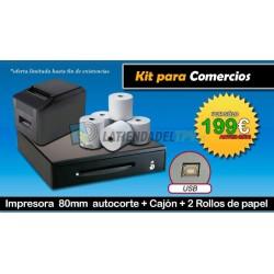 Kit comercios impresora de 80mm + cajón + 2 rollos